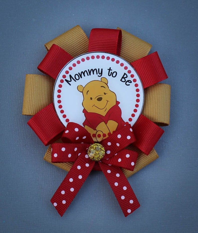 Mommy Pin Mini Winnie the Pooh Mommy to Be Corsage Winnie the Pooh Baby Shower Pin Mommy to Be Pin Winnie the Pooh Baby Shower Pin