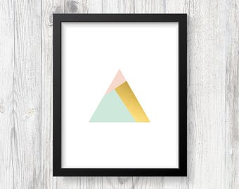 Printable Art - Digital Print - Geometric Art - Gold Art - Home Decor - Modern Art - Abstract Art - Shiny Gold Print - Downloadable
