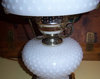 20013c4f88d Vintage Mid Century White Milk Glass Hobnail Hurricane Gone with The Wind  Style Table Lamp Shade Globe Metal Gold Tone