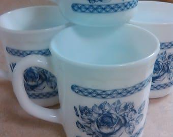 Vintage Arcopal France Blue Rose Honorine Pattern Set of 4 Coffee Tea Cups Mugs