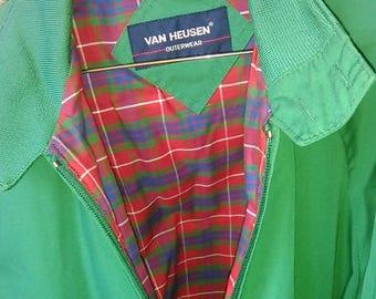 Vintage 1980's Van Heusen Outerwear Green Plaid Jacket Coat Mens Large