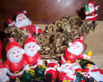 vintage blow mold plastic christmas tree ornaments santa sleigh snowman lot red gold white green yellow