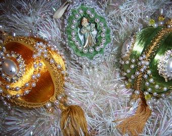 Vintage Old Handmade Pearl Beaded Tassel Christmas Tree Ornaments Satin Green Gold Lot of 3
