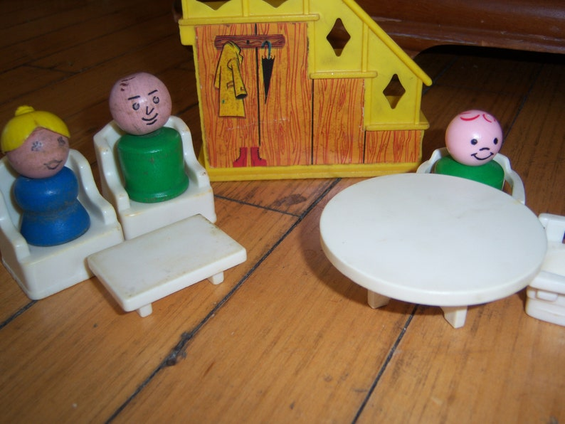 Vintage Fisher Price Little People Play Family House Wood People Furniture Staircase Table Wing Chairs