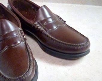 Vintage Mens Dexter Brown Leather Penny Loafers Slip On Size 7 1/2 USA