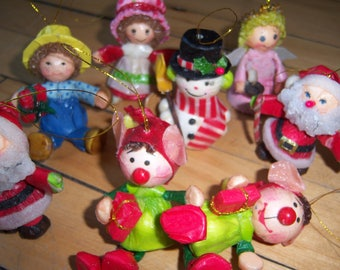 Elf greeting etsy vintage paper mache christmas ornaments 1980 american greetings taiwan elf santa angel snowman strawberry shortcake lot m4hsunfo