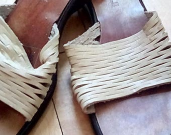 Danielle Leather Slip on Sandals made in Italy Size 7 1/2 Tan Brown Shoes