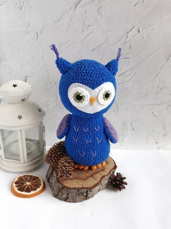 Crochet Amigurumi Owl Softy Owl Toy Big Blue Owl Plush Owl Etsy