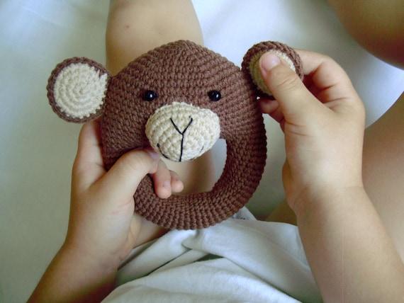 Häkeln Affe Rassel Spielzeug Häkeln Tier Amigurumi Affe Etsy