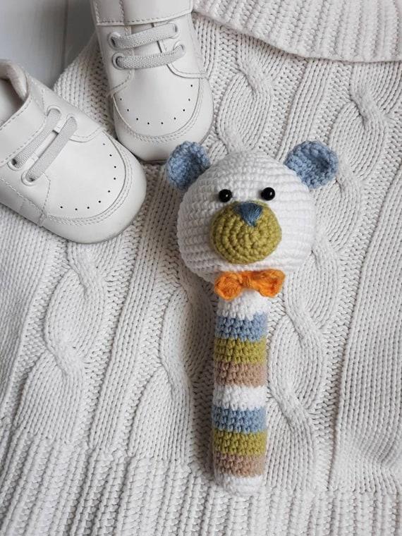 Häkeln Häkeln Spielzeug Baby Rassel Bär Häkeln Baby Spielzeug Etsy