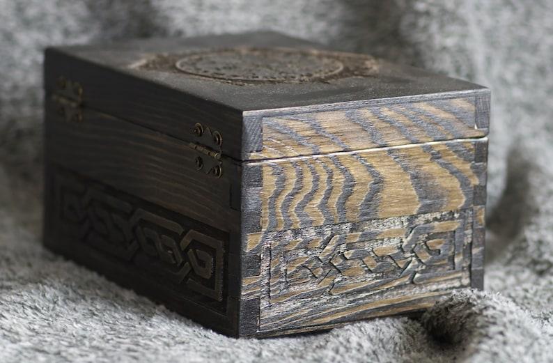 The Helm of Awe wooden jevelery boxcasket aegishjalma\u0433 Vikings themed