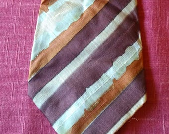 Vintage Ted Lapidus Paris neck tie 100% silk Made in France Designer Hand stitched Classy Brown  beige 1980's