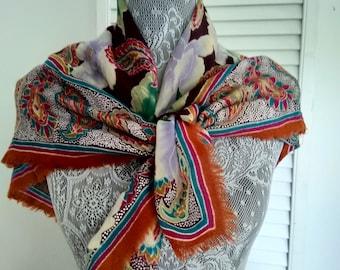 New Designer Herme Horse Pashmina Cashmere Knit Wool Cape Scarf Burnt Orange