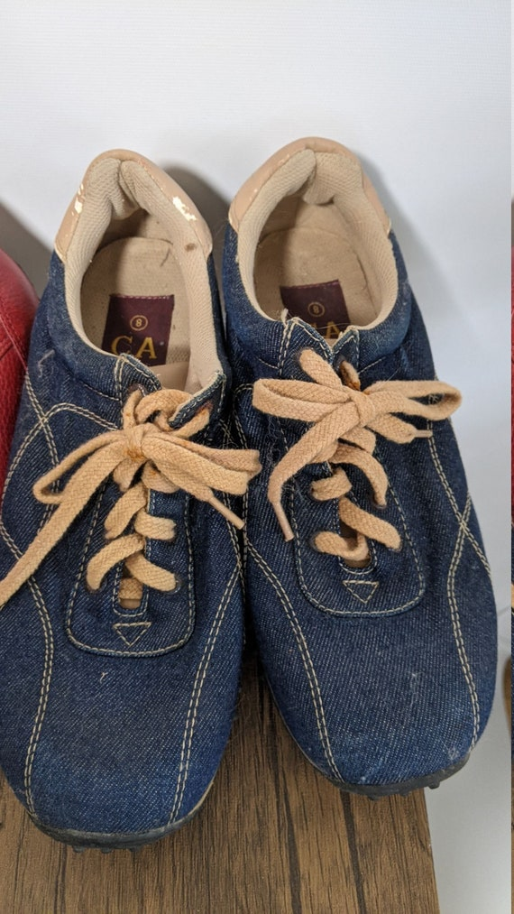 Vintage Red Boots 1990's and Denim sport Shoes Sn… - image 6