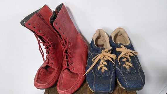 Vintage Red Boots 1990's and Denim sport Shoes Sn… - image 1