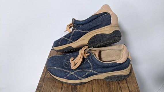 Vintage Red Boots 1990's and Denim sport Shoes Sn… - image 7
