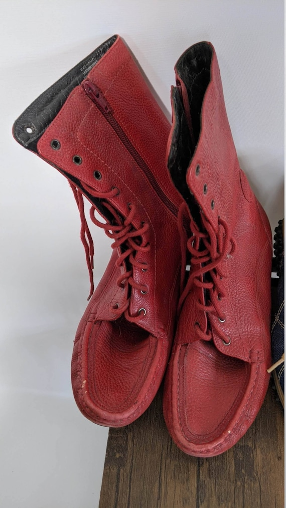 Vintage Red Boots 1990's and Denim sport Shoes Sn… - image 2
