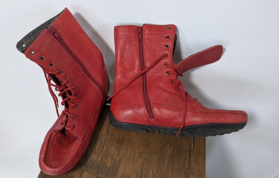 Vintage Red Boots 1990's and Denim sport Shoes Sn… - image 4