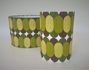 Green Beans Mid century modern Retro style drum shades made from original vintage fabric