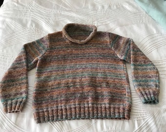 Unisex toddler jumper / sweater with rolled neck. Varigated colours.