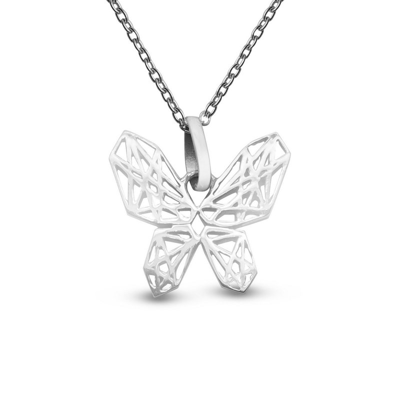 Dainty Necklace Insect Necklace Butterfly Lover Gift Geometric Butterfly Necklace in Sterling Silver Layering Necklace