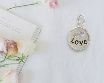 Love Necklace, Gifts for Mom, Girlfriend Gift Idea, Mindfulness Gift, Silver Pendant, Boho Jewelry, Dainty Necklace, Silver Jewelry