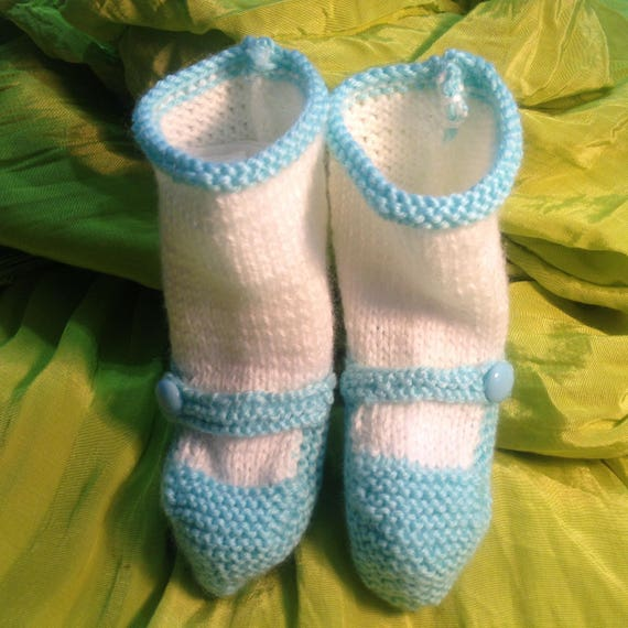 Celadon Green Shoes and Socks Booties, A Pair ofHand Knitted Booties,  Perfect for a 6 to 9 Month Old, Warm and Cuddly and so Cute!