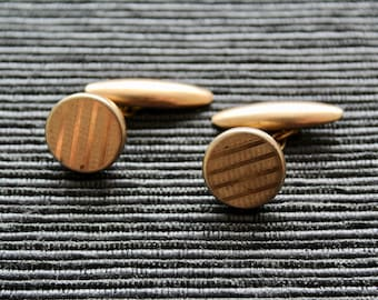 Vintage Art Deco Cufflinks Machine Tooled Cufflinks Gold Tone Expandable Chain Patented 243189 Cufflink Made in England 1930s