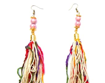 Bohochic  long statement  earrings with fringes and ceramic beads - pink