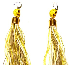 Bohochic  long statement  earrings with fringes and skull ornament - yellow