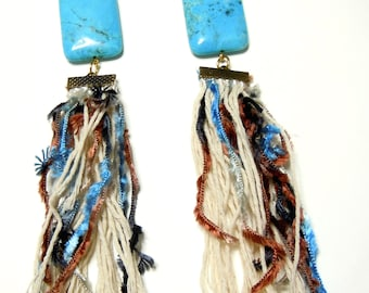 Bohochic  long statement  earrings with fringes and semiprecious turquoise stone