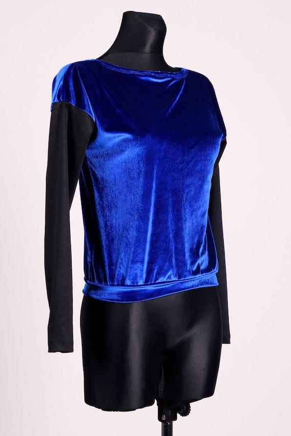 Blue Velvet Sweater Vintage Women's Blouse Long Sleeves Sweater 90's Shiny Ladies Blouse Grunge Navy Blue Jumper Rocker Style
