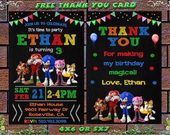 Sonic The Hedgehog Birthday Invitation Etsy