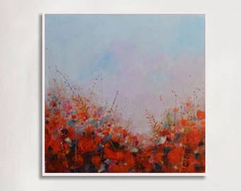 """Abstract painting, impression painting, wall art, flower painting, white, pink, orange, canvas art, home decor, 36x36"""", CF#32, canvas art"""