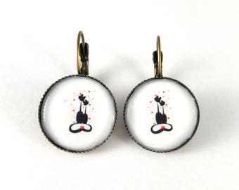 cats earrings sleepers vintage retro lovers