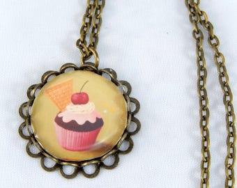 Long necklace retro vintage cabochon cupcake
