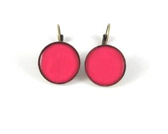 Earrings retro earrings fuchsia color