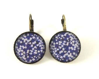 white flowers on blue earrings retro earrings