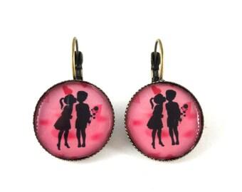 Kids earrings sleepers vintage retro lovers