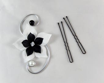 Black and white flower hair jewelry personalized