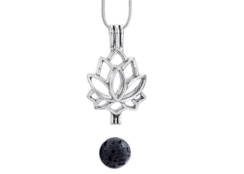 Lava Bead Necklace Crown Chakra Neckace Lava Stone Diffuser Necklace Essential Oil Necklace Aromatherapy Necklace Lotus Necklace