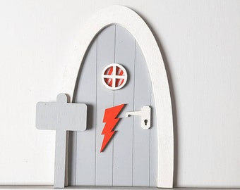 Personalised, Grey, Lightning Bolt, Fairy door, Magical Imaginative Play, Gifts for Girls and Boys