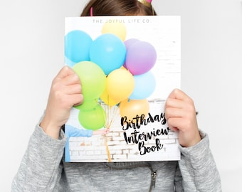 Hardcover Birthday Interview Book, Modern Baby Book, Baby Shower Gift, Baby Gift, Gift for New Baby, First Birthday Gift, Yearly Interview