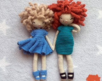 ENGLISH ONLY. Combo of two patterns. Mia, the doll and Francesca, the doll.