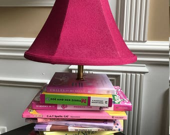 Children's Hot Pink Custom Book Lamp