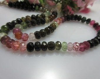 Tourmaline chain multicoloured, transparent gemstones, 6 mm 42 cm