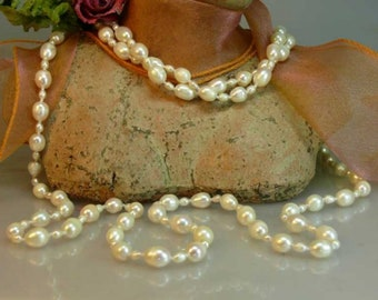 Cultivated pearl necklace 160 cm white 4/8 mm endlessly knotted