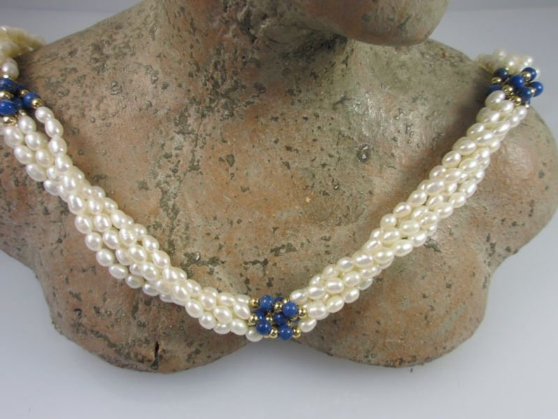 Attention 5-row chain 61 cm with seed beads and Lapiskugeln