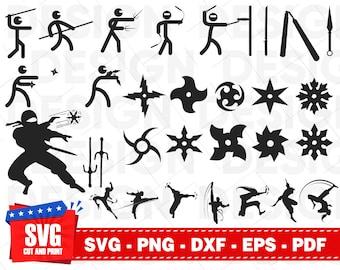 Ninja Svg Samurai Karate Silhouette Vector Cutting File Dxf Throwing Star Warrior