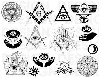Masonic Svg Freemason Illuminati Symbols Square Compass Sign Silhouette Decal Png Eps Dpf Vector